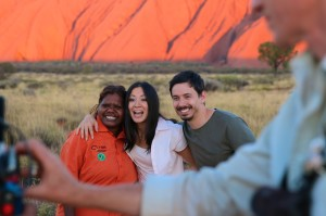 Sarah, Rachel and Ben Sunset Scene Uluru